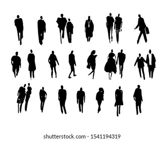 vector black silhouettes of people made by brush strokes