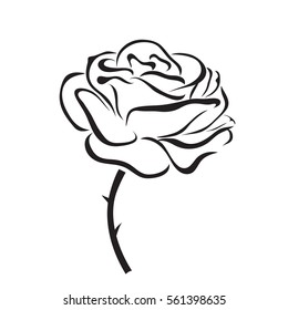 Rose outline images stock photos vectors shutterstock vector black silhouettes of rose flowers isolated on a white background mightylinksfo