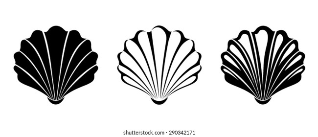Vector black silhouettes of three sea shells isolated on a white background.