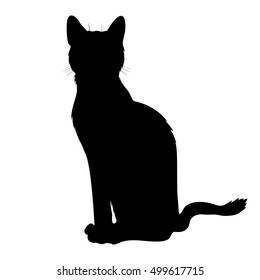 Vector black sit cat silhouette