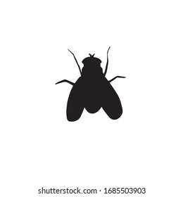 Vector black sketch fly insect silhouette isolated on white background