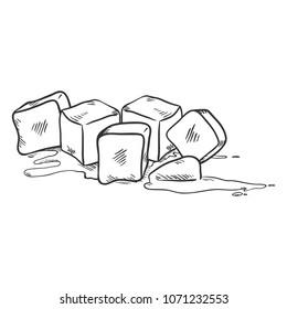 Vector Black Sketch Illustration - Ice Cubes Melting