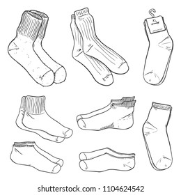 Vector Black Sketch Set of Different Socks