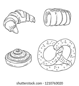 Vector Black Sketch Set of Fresh Baked Pastry Items. Desserts and Snacks.