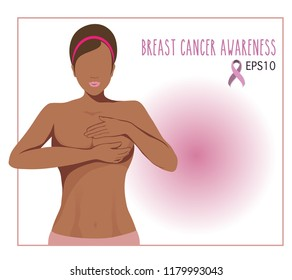 vector of a black skin woman breast cancer checking herself,awareness woman breast cancer concept