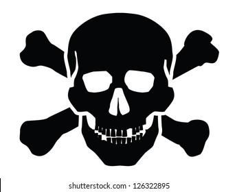 vector black skull icon on white background