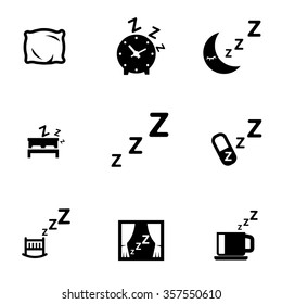Vector black sleep icon set.