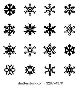 Vector black snowflake icon set.
