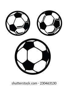 vector black Soccer ball icon on white