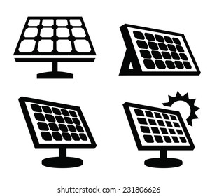 vector black solar panel icon on white background