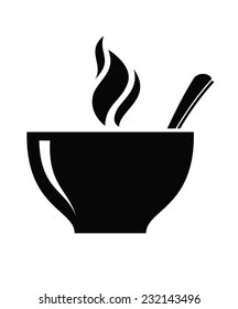 vector black soup icon on white background