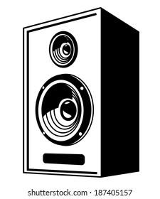 vector black Speaker icon on white background