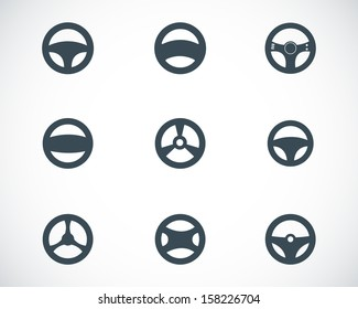 Vector black Steering wheels icons set
