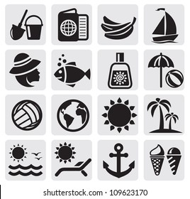 vector black summer icons set in the gray squares