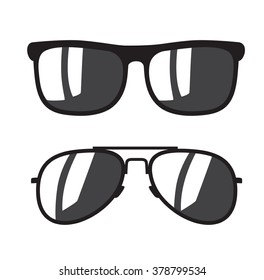 vector black Sunglasse icons on white background