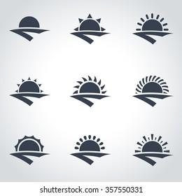 Vector black sunrise icon set.