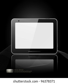 vector black tablet pad with a white screen and a reflection on a black background.