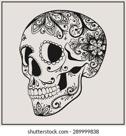 Vector Black Tattoo Sugar Skull Illustration