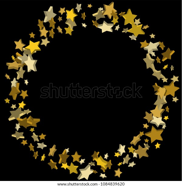 Vector black template with gold stars.  Illustration of flying shiny stars. Decorative element. Bright design pattern. Suitable for your design, cards, invitations, gift, vip.
