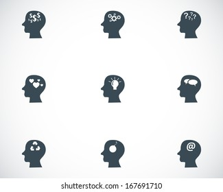 Vector black thoughts icons set on white background