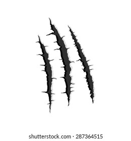 Vector black three vertical trace of monster claw, hand scratch ,rip through,break through  with shadow and light isolated on white background