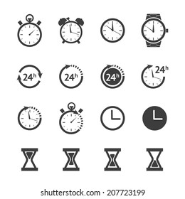 Vector black time, clock icon isolated on white. Sand watch set and 24h clock collection. Stopwatch, Two flat time icons, Wall clock icon. Wrist watch & alarm clock icon