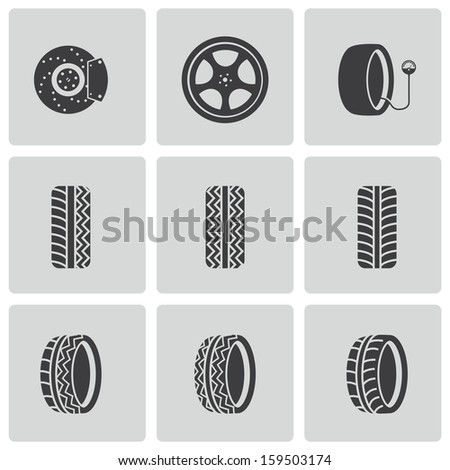 vector black tire icons set stock vector royalty free 159503174