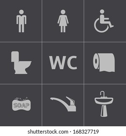 Vector black toilet icons set