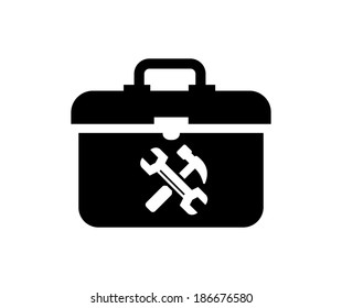 vector black toolbox icon on white background