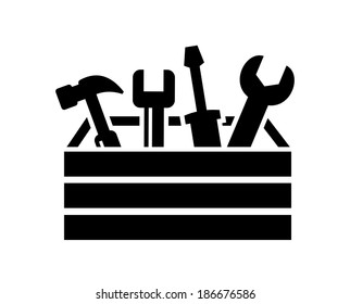 vector black toolbox with tools icon on white