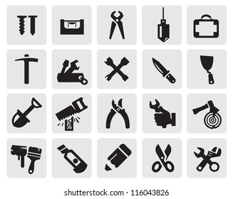 vector black tools icons set on gray