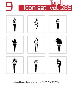 Vector black torch icons set on white background