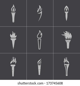 Vector black torch icons set on gray background