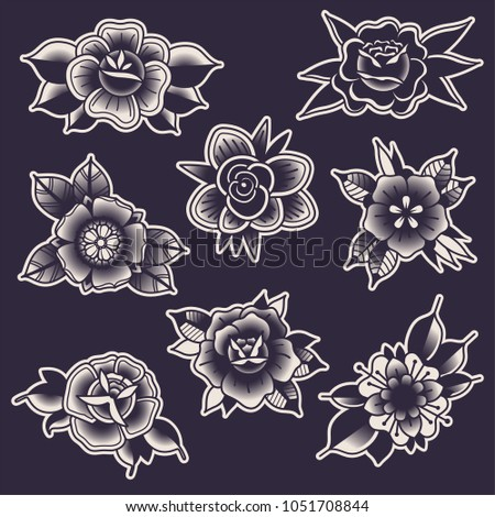 Vector Black Traditional Tattoo Flowers Stock Vector Royalty Free