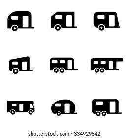 Vector black trailer icon set.