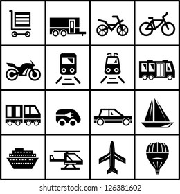 Vector black transportation icon set isolated on white