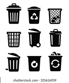 vector black trash can icon on white background