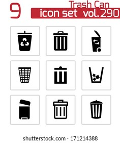 Vector black trash can icons set on white background