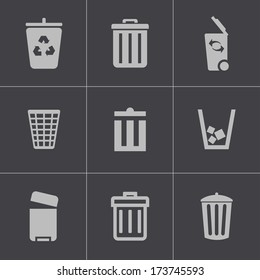 Vector black trash can icons set on gray background