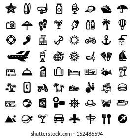 vector black travel icon set on white