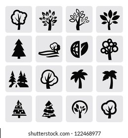 vector black trees icon set on gray