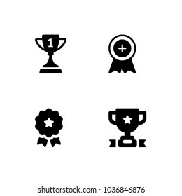 Vector black trophy and awards icons set. Flat symbols. Set icons EPS 10 vector format black and white optimized for both large and small resolutions. Transparent background.