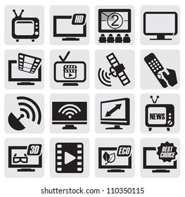 vector black TV technology icons set on gray