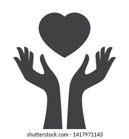 Vector black two female hands catching art heart. Isolated on white background