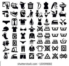 vector black washing signs and clothes icon set
