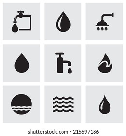 Vector black water icons set on grey background