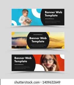 Vector black web banners design with place for photo and round elements. A standard size template with text.