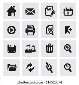 vector black web icons set on gray