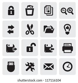 vector black web icons set on gray