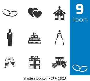Vector black wedding icons set on white background